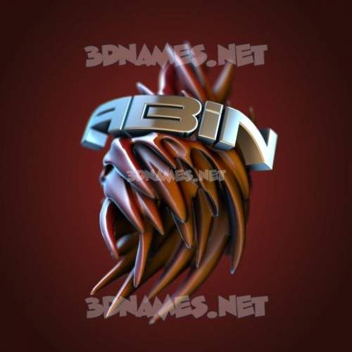 Red Twisted 3D Name for abin