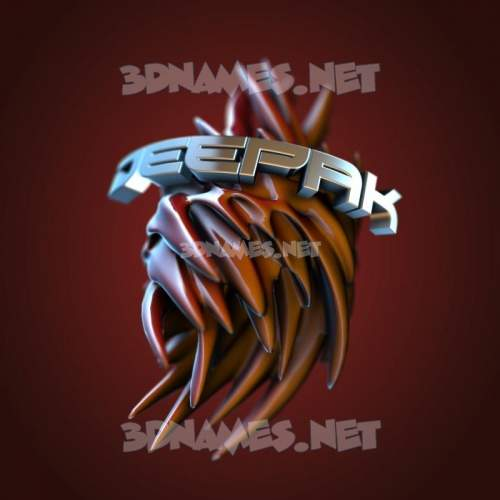 Red Twisted 3D Name for deepak