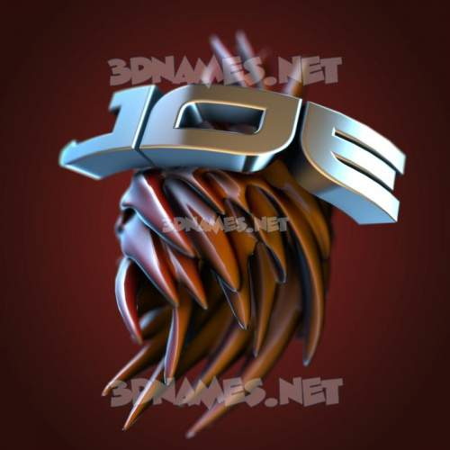 Red Twisted 3D Name for joe