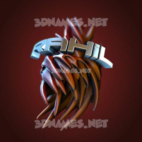Red Twisted 3D Name for rahil