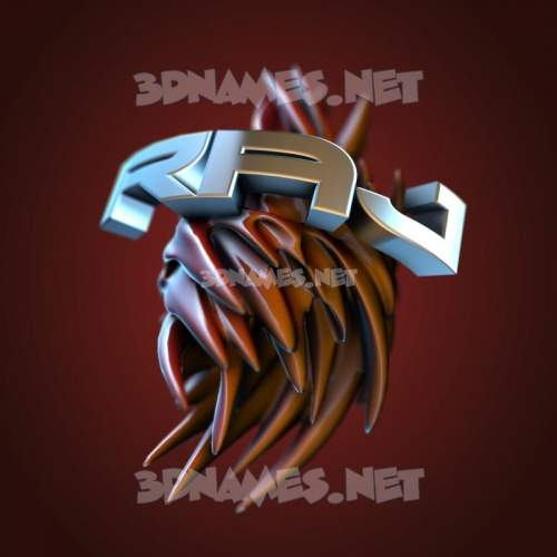 Red Twisted 3D Name for raj