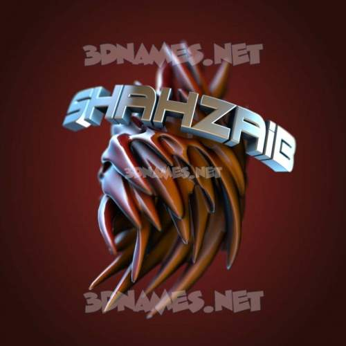 Red Twisted 3D Name for shahzaib
