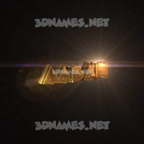 Golden Sparkle 3D Name for aaban
