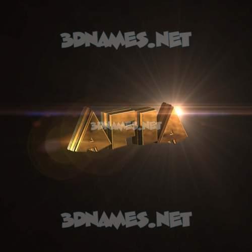 Golden Sparkle 3D Name for afia