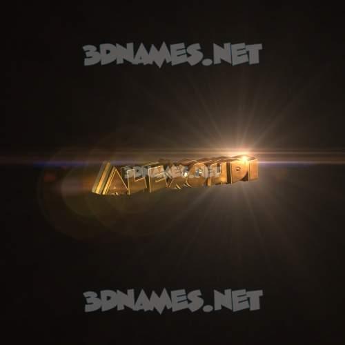 Golden Sparkle 3D Name for alexoudi
