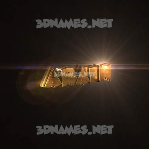 Golden Sparkle 3D Name for arain