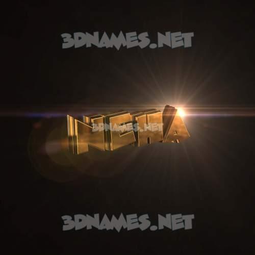Golden Sparkle 3D Name for neha