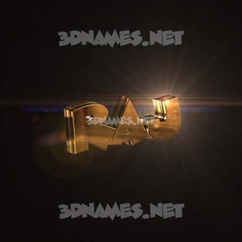 Golden Sparkle 3D Name for raj