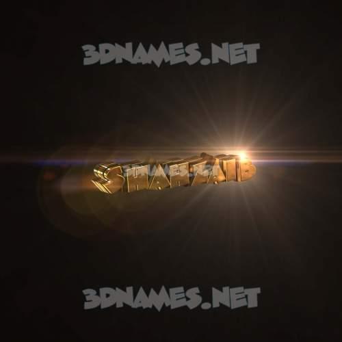 Golden Sparkle 3D Name for shahzaib