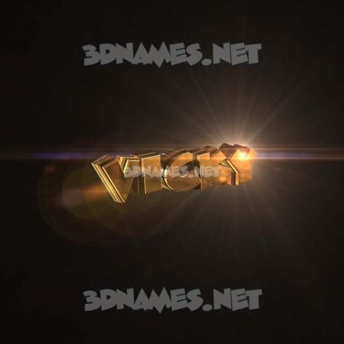 Golden Sparkle 3D Name for vicky