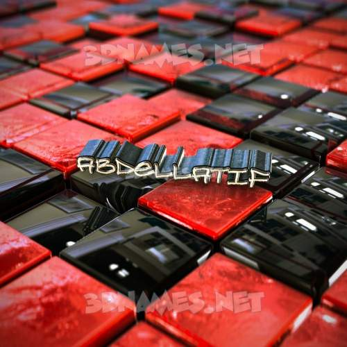 Red Checkered 3D Name for abdellatif