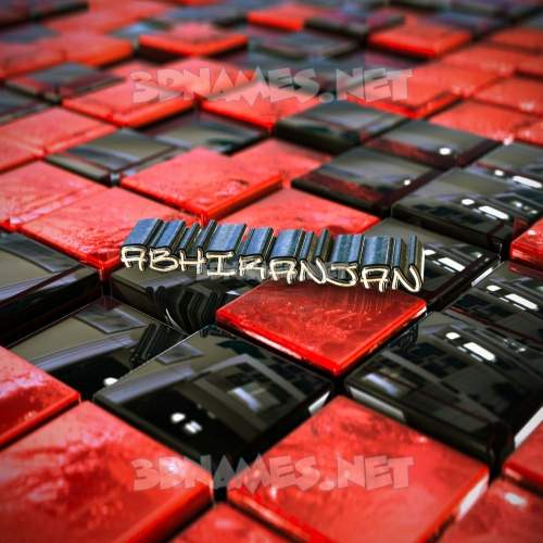 Red Checkered 3D Name for abhiranjan