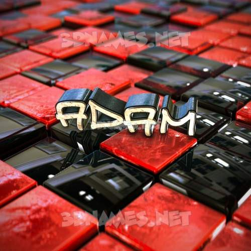 Red Checkered 3D Name for adam