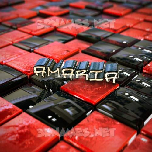 Red Checkered 3D Name for amaria
