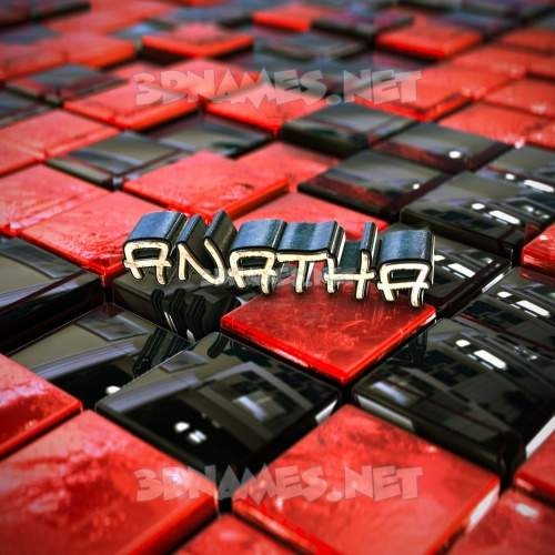 Red Checkered 3D Name for anatha