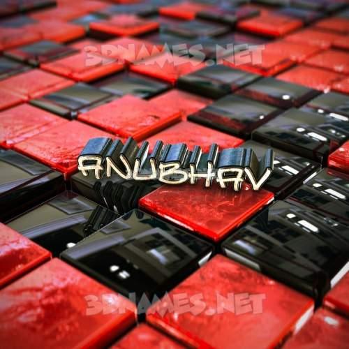 Red Checkered 3D Name for anubhav