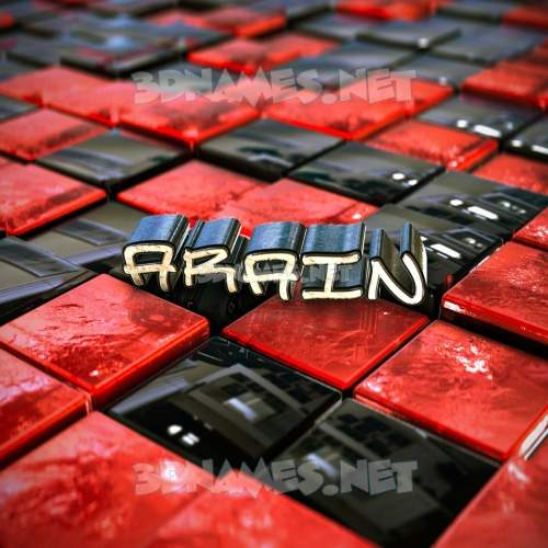Red Checkered 3D Name for arain