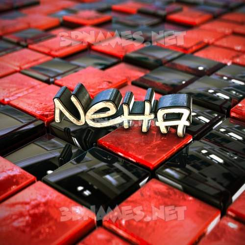 Red Checkered 3D Name for neha