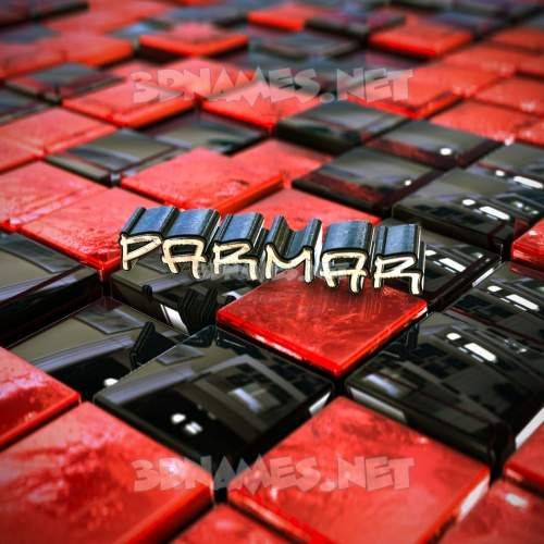 Red Checkered 3D Name for parmar