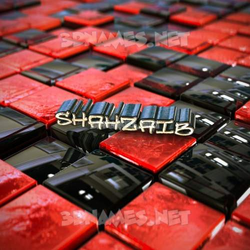 Red Checkered 3D Name for shahzaib