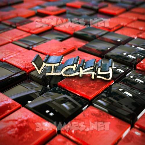 Red Checkered 3D Name for vicky