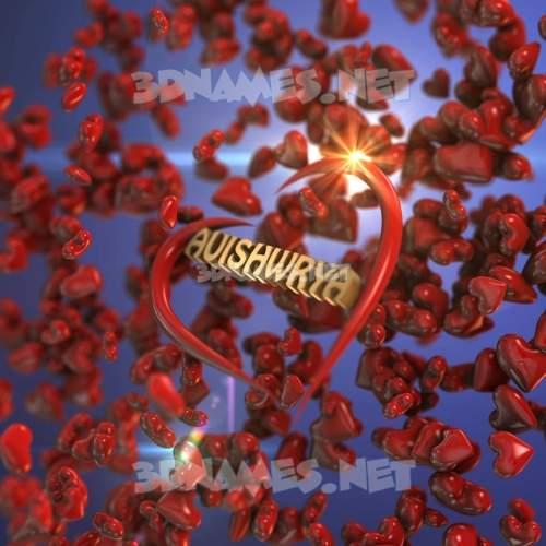 Hearts 3D Name for auishwrya