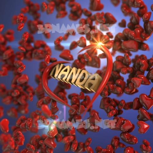 Hearts 3D Name for nanda