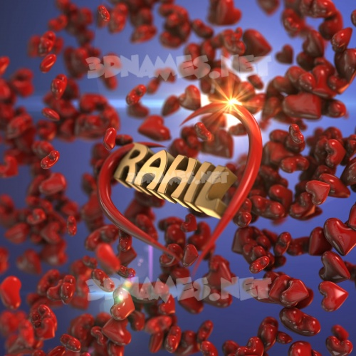 Hearts 3D Name for rahil