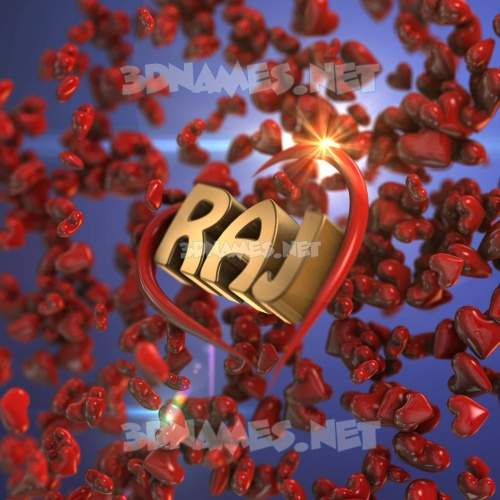 Hearts 3D Name for raj