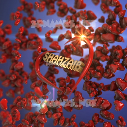 Hearts 3D Name for shahzaib