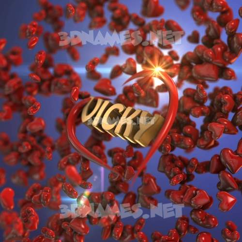 Hearts 3D Name for vicky
