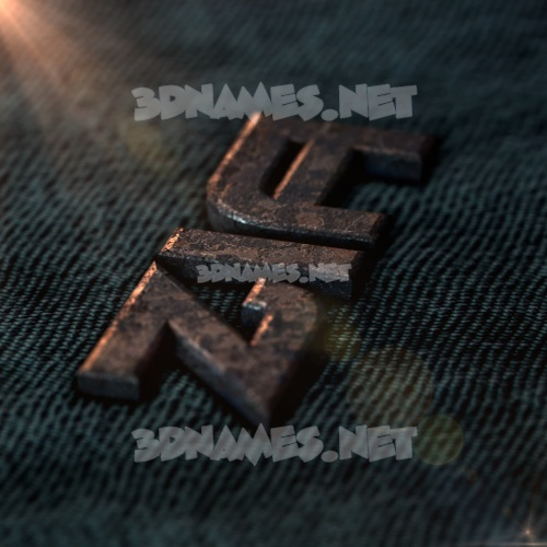 Rusty Metal 3D Name for zia