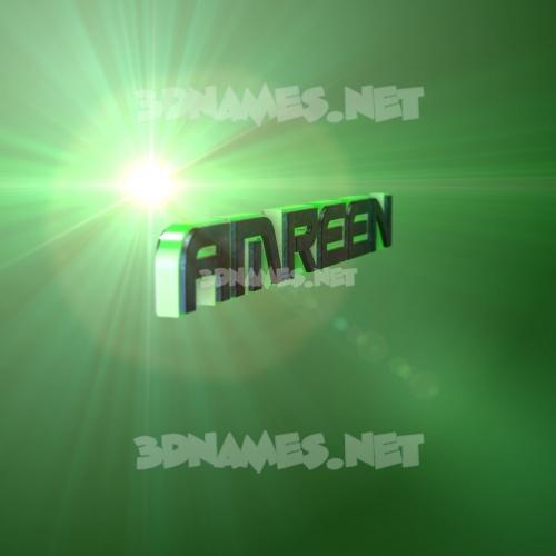 Green Light 3D Name for amreen