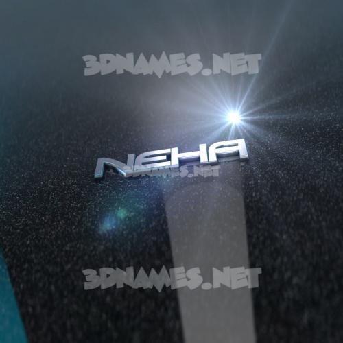 Black Metalic 3D Name for neha