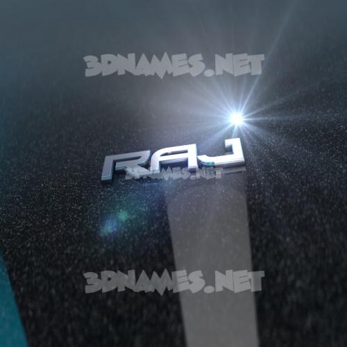 Black Metalic 3D Name for raj