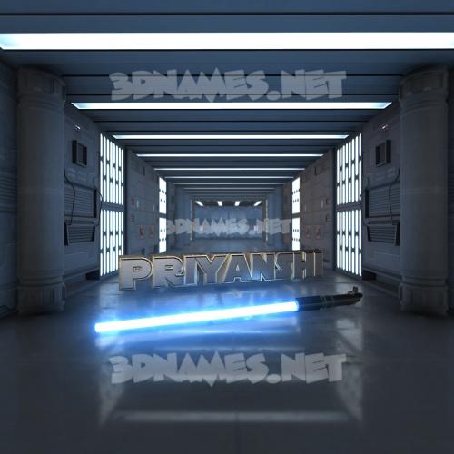 Light Saber 3D Name for priyanshi