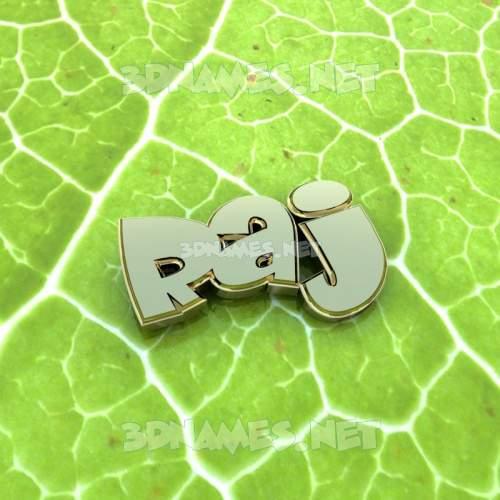 Gold Leaf 3D Name for raj