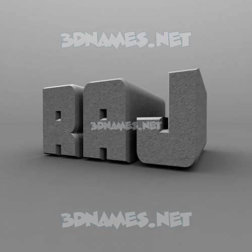 Solid Grey 3D Name for raj