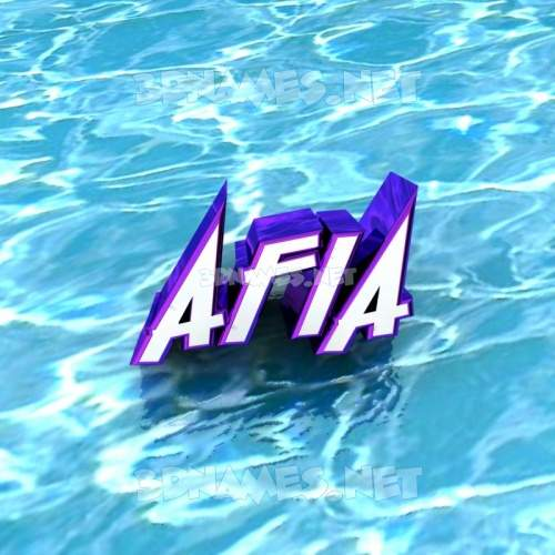 Water 3D Name for afia