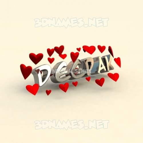 In Love 3D Name for deepak