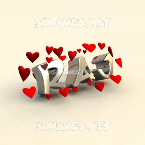 In Love 3D Name for raj