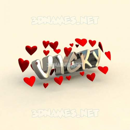In Love 3D Name for vicky