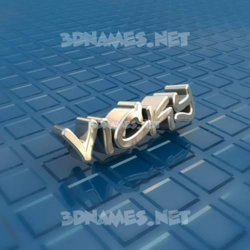 Blue Bling 3D Name for vicky