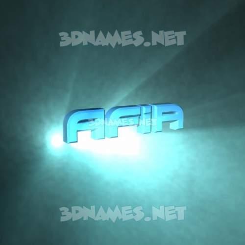 Light Shine 3D Name for afia
