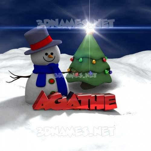 Happy Xmas 3D Name for agathe