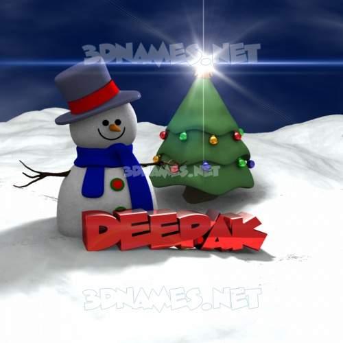 Happy Xmas 3D Name for deepak