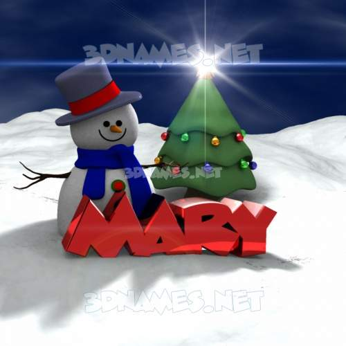 Happy Xmas 3D Name for mary