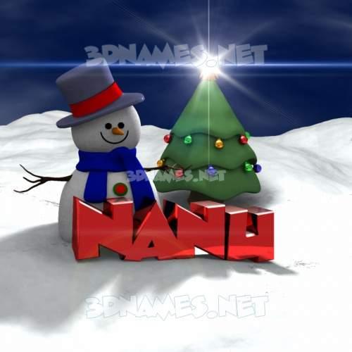 Happy Xmas 3D Name for nanu