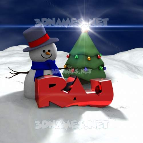 Happy Xmas 3D Name for raj