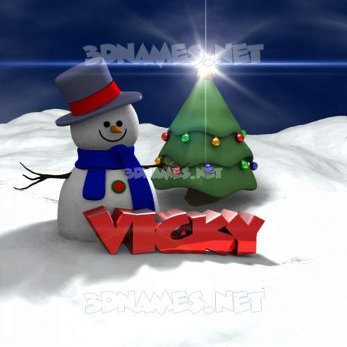 Happy Xmas 3D Name for vicky